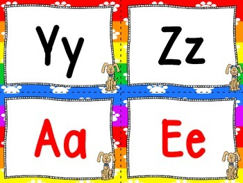 Dog Theme Word Wall Letters and 100 Fry Word Cards