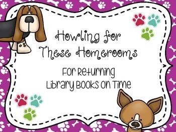 Dog Themed Book Return Reward Bulletin Board Set
