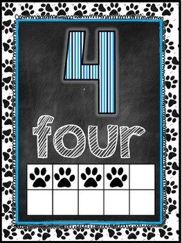 Dog Themed Classroom Decor Number Word Posters (0-10) [blue and black]