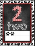 Dog Themed Classroom Decor Number Word Posters (0-10) [red and black]