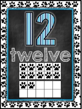 Dog Themed Classroom Decor Number Word Posters (11-20) [blue and black]