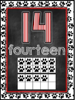 Dog Themed Classroom Decor Number Word Posters (11-20) [red and black]