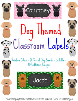 Dog Themed Classroom Labels - Books, Desk, Bins, Cubbies, Lockers, Anything!