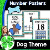 Dog Themed Classroom Number Posters - Blue and Brown
