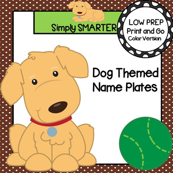 Dog Themed Desk Name Plates with Alphabet and Numbers (1-20)