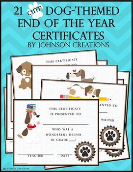 Dog -Themed End of the Year Certificates