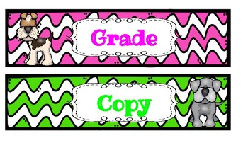 Dog Themed Grade, Copy, File Large Sterilite Drawer Labels