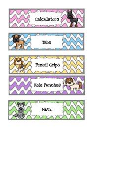 Dog Themed Mini Sterilite Drawer Labels