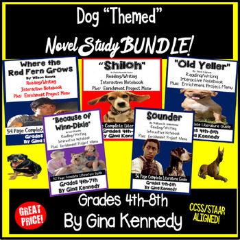 "Dog ""Themed"" Novel Study Bundle, Five Popular Dog ""Themed"" Literature Units"