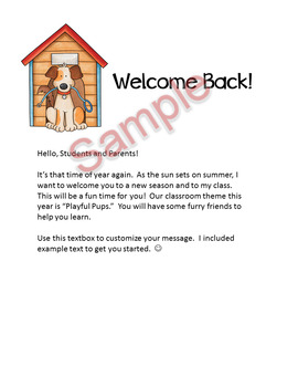 Dog Theme - Welcome back letter