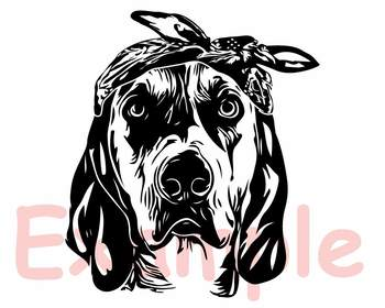 Dog Whit Bandana Silhouette SVG clipart Head face hunting Puppy Family Pet 859S