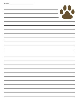 Dog, Wolf, Lobo or Coyote Paw Lined Paper
