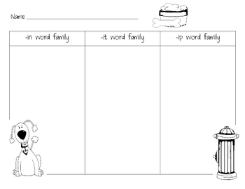 Dog Word Family Sort: Ip, In, It Families Literacy Center