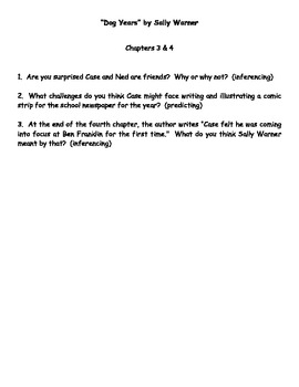 """""""Dog Years"""" by Sally Warner Reading Response Questions"""