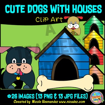 Dog and Bone (with Dog Houses) Clip Art for Teachers