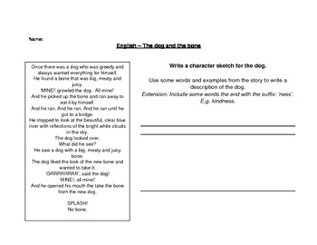 Dog and Bone fable writing worksheet