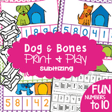 Subitizing Number Game - Dog and Bones - Math Center