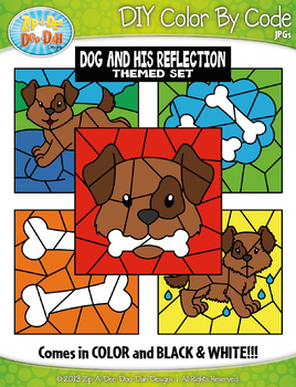 Dog and His Reflection Color By Code Clipart {Zip-A-Dee-Doo-Dah Designs}