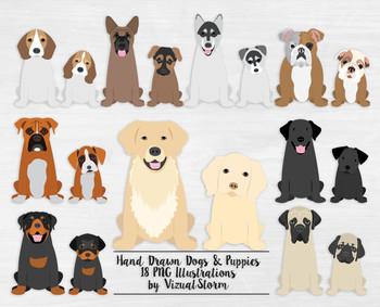 Dog and Puppy Clip Art Bundle - 18 Hand Drawn Pet Illustrations - Popular Breeds