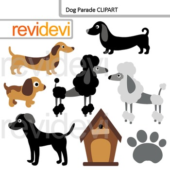 Dog and puppy clip art - Dog parade clipart