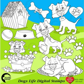 Clipart, Digital Stamps, Dog clipart Puppies, Life Clipart