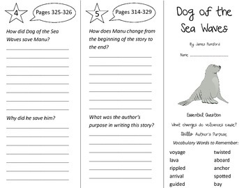 Dog of the Sea Waves Trifold - Journeys 3rd Grade Un 5 Week 4 (2014, 2017)