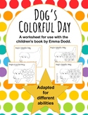 Dog's Colorful Day adapted worksheet for ESE