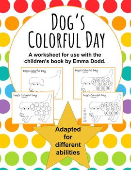 Dog S Colorful Day Adapted Worksheet For Ese By Jenlmassey Tpt