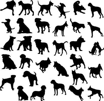 Dog silhouette digital clipart