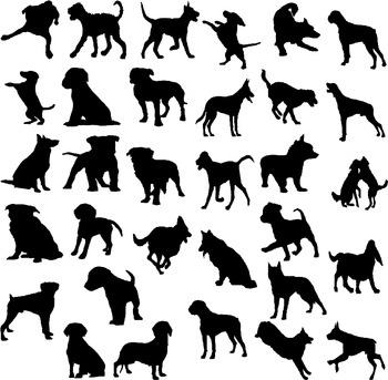 Dog silhouette digital clipart