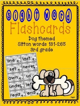 Dog themed Sitton Sight Word Flashcards 131-265 3rd grade