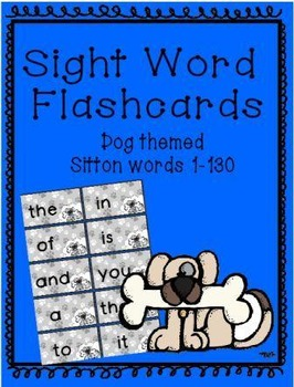 Dog themed Sitton Sight Word Flashcards 1-130