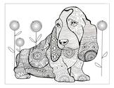 Dog zentangle coloring page, printable art hand made illustration