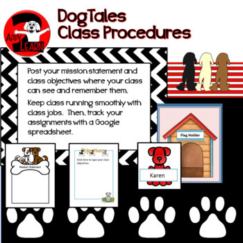 DogTales Classroom jobs, Mission, and Objectives Bundle