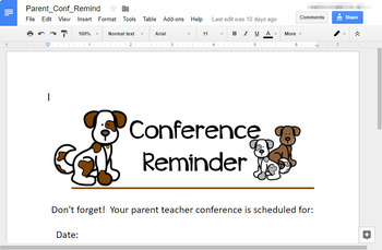 DogTales - welcome back letter with open house, and P/T conference notes