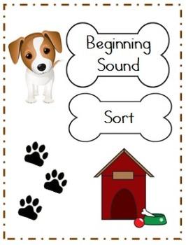 Beginning Sound Card Sort File Folder Game (DOG THEME)