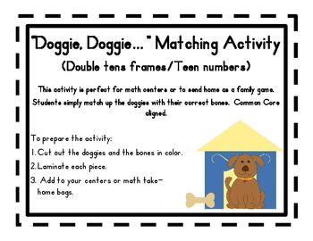 """Doggie, Doggie..."" Math Matching Activity (Teen Numbers); Common Core aligned"
