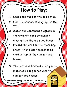Doggie, Doggie, Where's Your Bone?  Consonant Diagraph Center and Worksheets