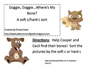 Doggie Doggie Where's My Bone?  Hard and Soft c Sort