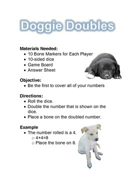 Doggie Doubles File Folder Game