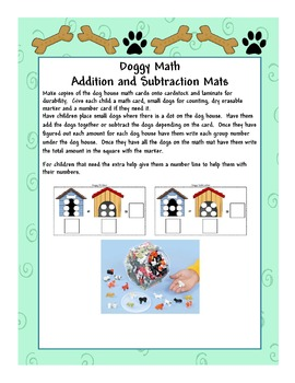 Doggy Math Addition and Subtraction Math Mats