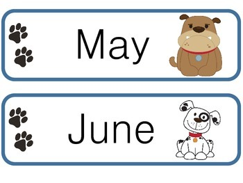 Doggy Months for the Calendar