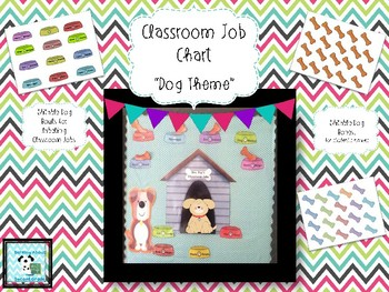 Doghouse Classroom Job Board - with editable dog bones and dog bowls