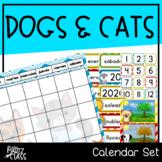 Dogs & Cats Classroom Decor Calendar Set Spanish