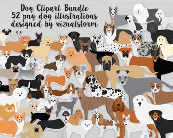 Dog Clip Art Bundle - 50 Hand Drawn PNG Dogs - 42 Dog Breed Illustrations