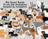 Realistic Dog Breeds Illustration Bundle - 52 Hand Drawn PNG Dogs
