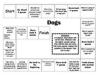 """""""Dogs"""" Comprehension Game Board- Journeys story 2nd grade"""