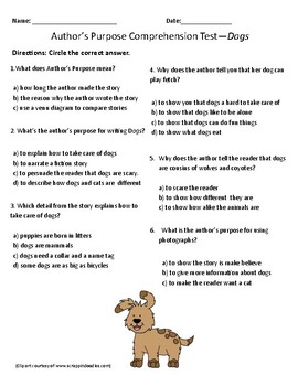 Dogs- Comprehension & Vocabulary Test/Quiz (Journey's)