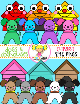 Dogs & Doghouses Clipart