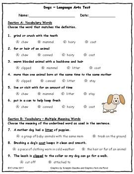 Dogs (Jennifer B. Gillis) ~ Language Arts Test ~ 2nd Grade ~ HMH Journeys
